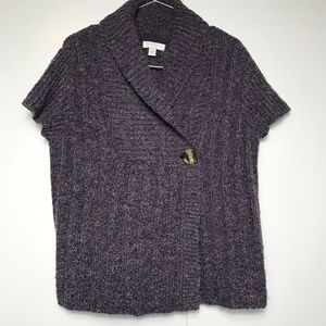 Charter Club Wool Cable Knit Purple Cardigan M